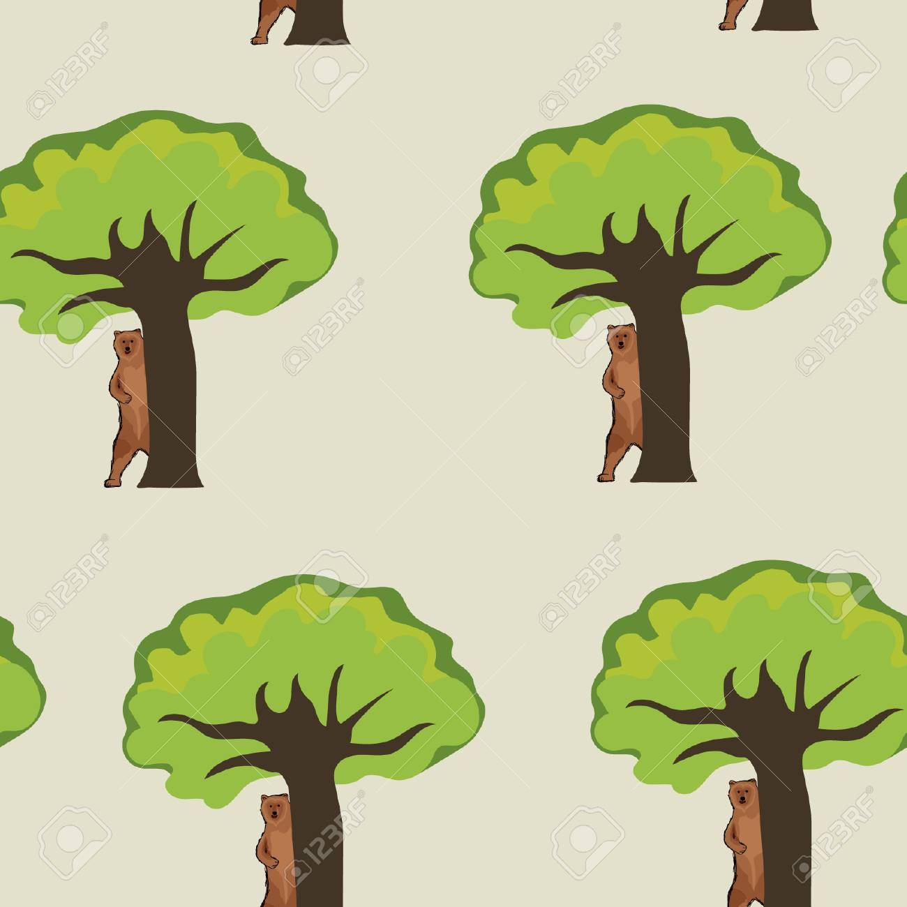 Oso Se Esconde Detrás De Un árbol, Mirando. Antecedentes Del Oso ...