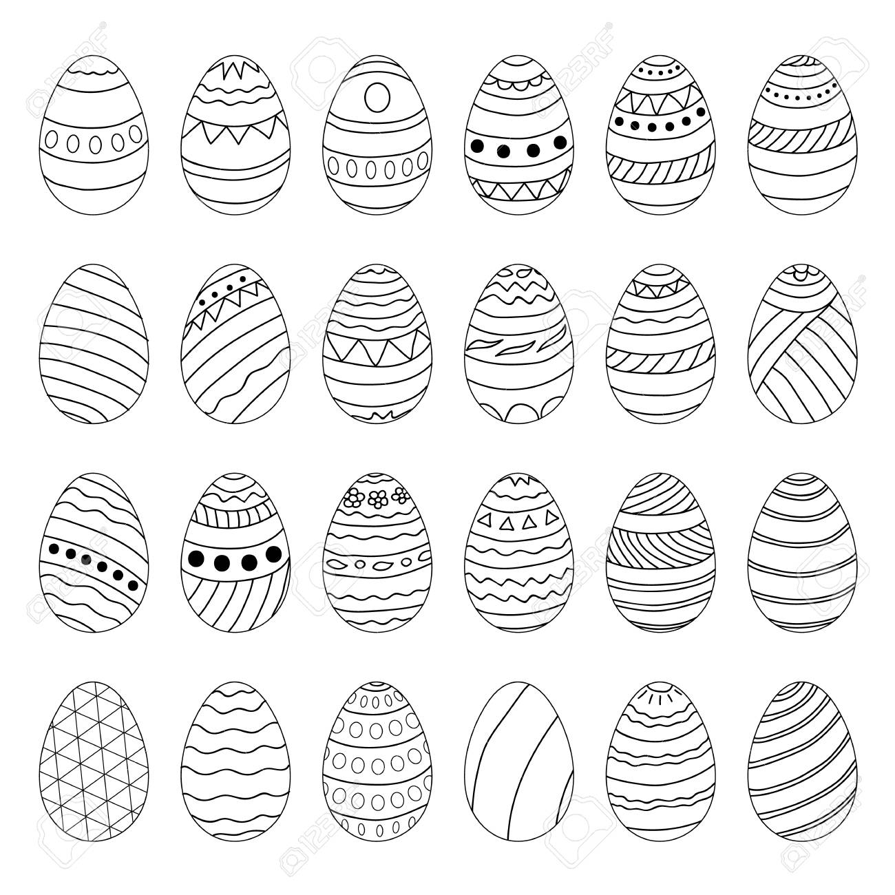 Set of Easter eggs with different patterns ornaments Elements