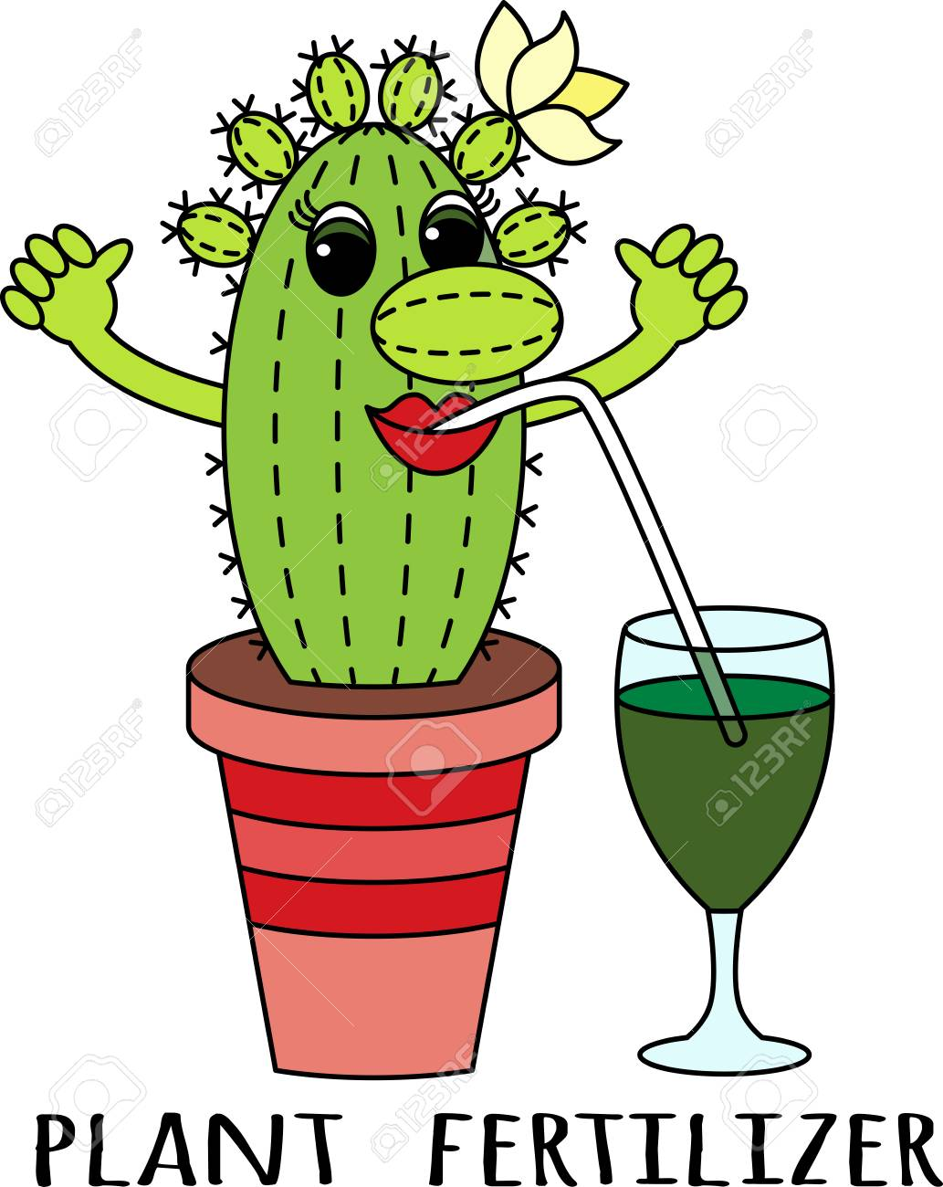 Fertilizers For Succulents Cartoon Funny Colorful Cactus Drinks