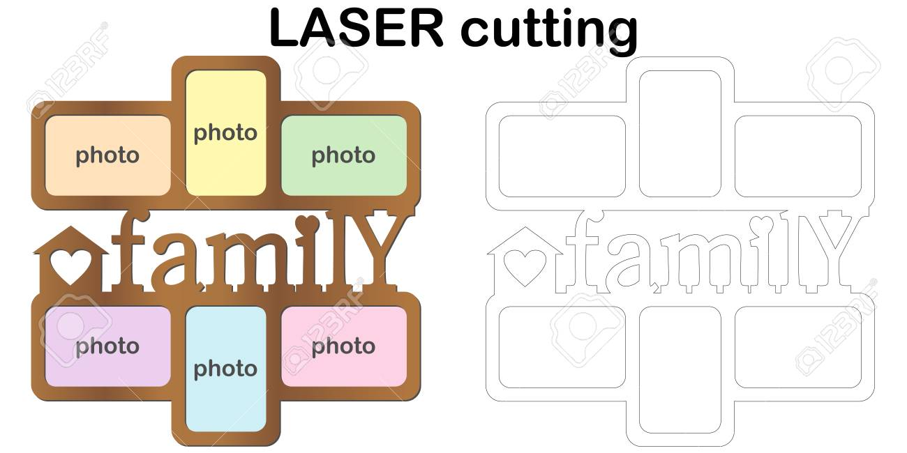 Frame For Photos With Inscription \'Family\' For Laser Cutting ...