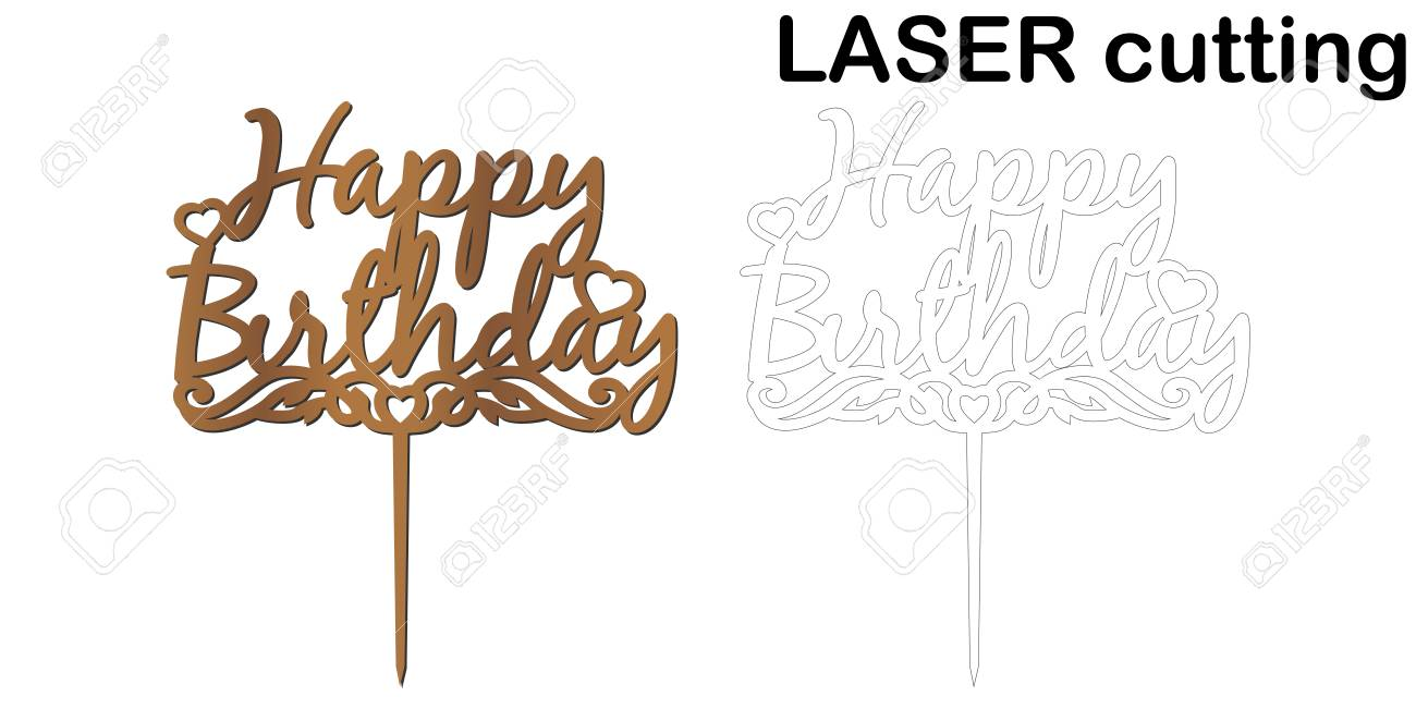 Phenomenal Sign Happy Birthday Cake Topper For Laser Or Milling Cut Personalised Birthday Cards Cominlily Jamesorg