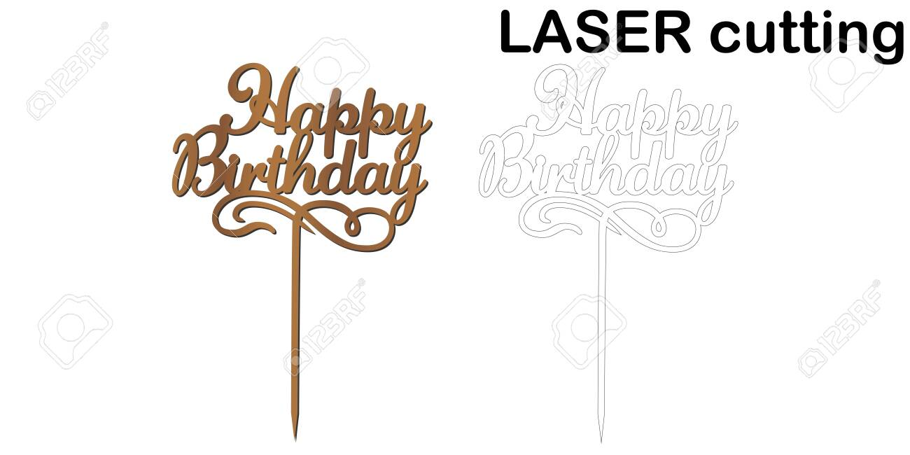 Stupendous Sign Happy Birthday Cake Topper For Laser Or Milling Cut Funny Birthday Cards Online Hetedamsfinfo