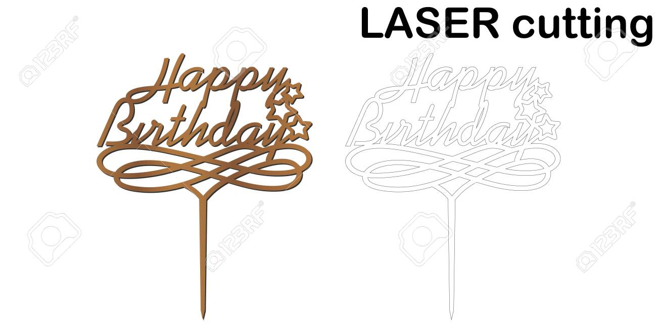 Sensational Sign Happy Birthday Cake Topper For Laser Or Milling Cut Funny Birthday Cards Online Fluifree Goldxyz
