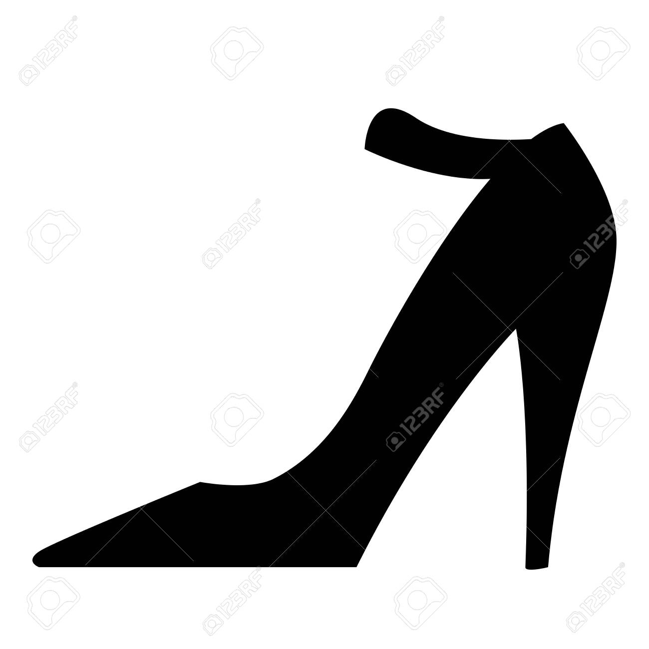 Black isolated icon of elegant classic shoe with high heel for women on white background. Silhouette of shoe. Modern vector illustration. Elegant