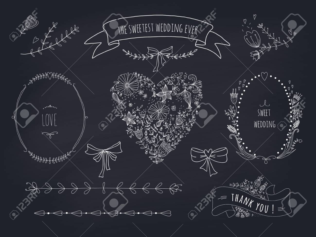 Of Wreaths Hand Drawn Set Of Wreaths Ribbons Heart And Labels On Blackboard