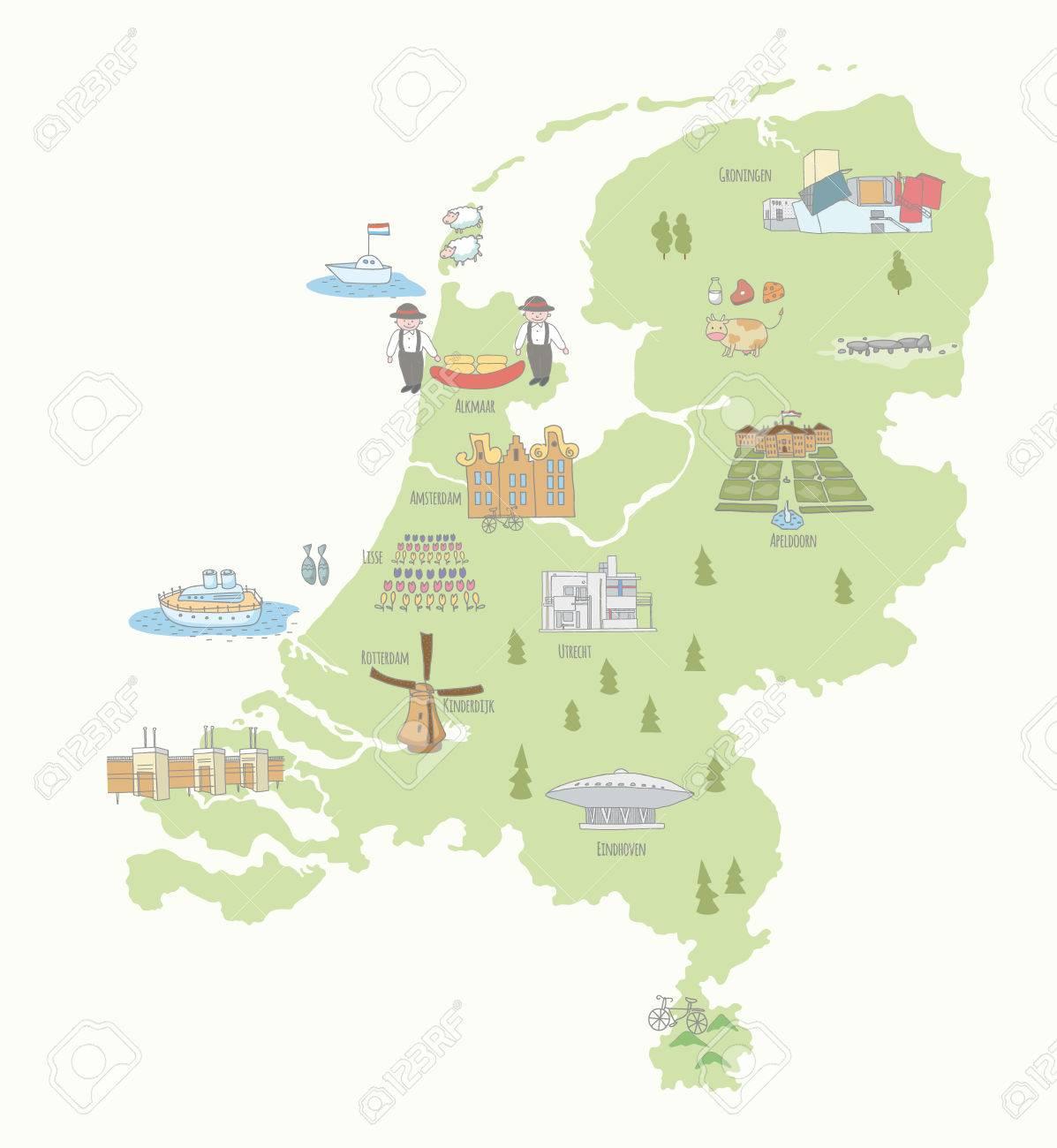 holland sehenswürdigkeiten karte Karte Der Niederlande Sehenswürdigkeiten. EPS 10. Keine