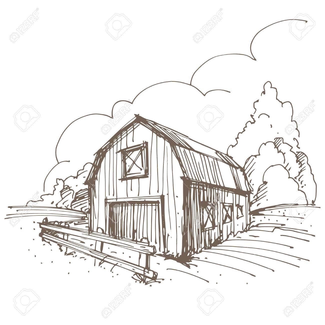 Farm Barn Drawing hand drawn illustration of a farm. royalty free cliparts, vectors