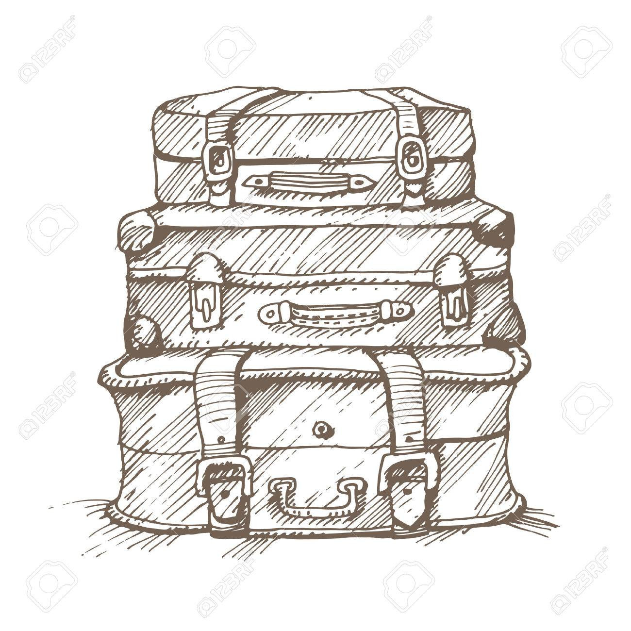 Hand drawn illustration of a stack of suitcases. - 30596610