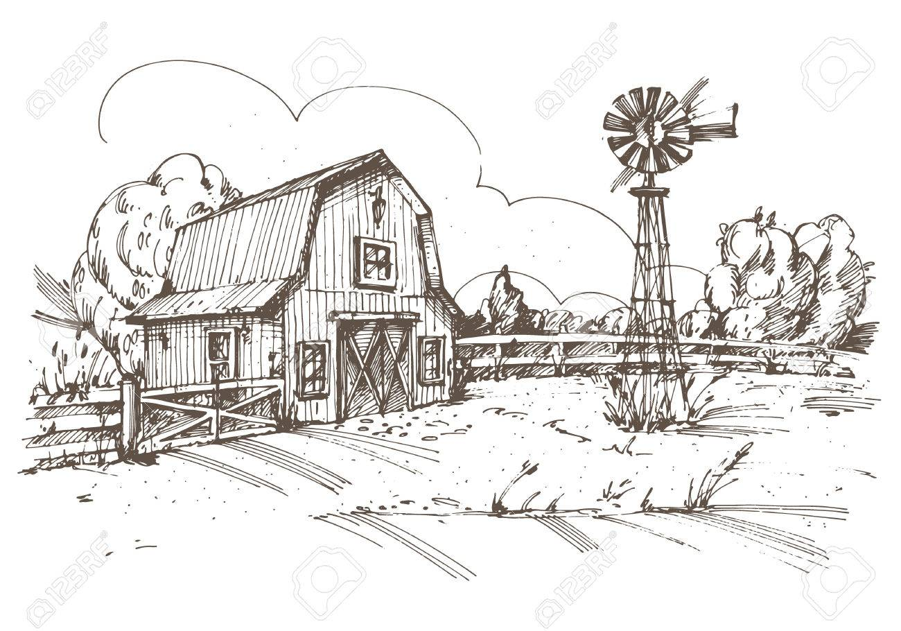 Hand drawn illustration of farmhouse. - 31815179