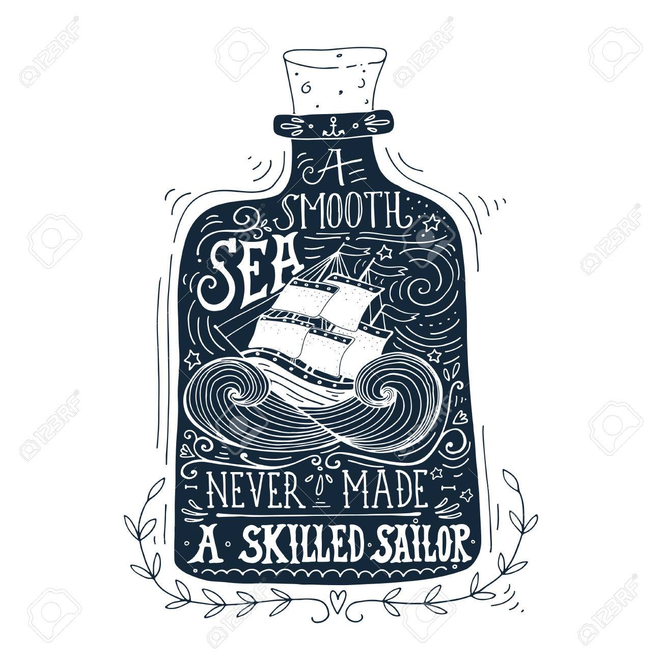 Hand Drawn Vintage Label With A Ship In Bottle And Lettering Stock Vector