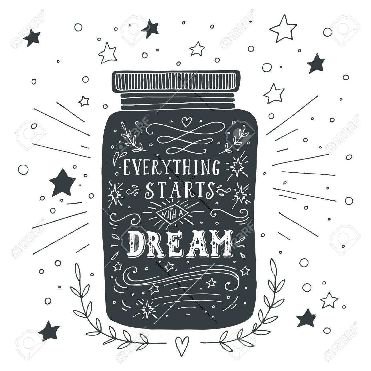 Stock illustration 3d red text quot yes quot stock illustration royalty - Enjoy Life Everything Starts With A Dream Hand Drawn Quote Lettering