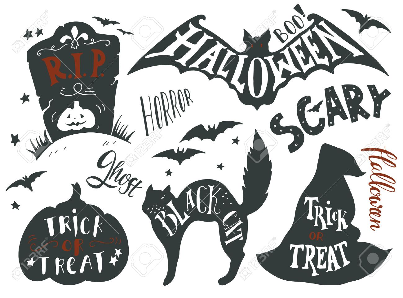 Collection Of Halloween Symbols With Hand Lettering. Trick Or ...