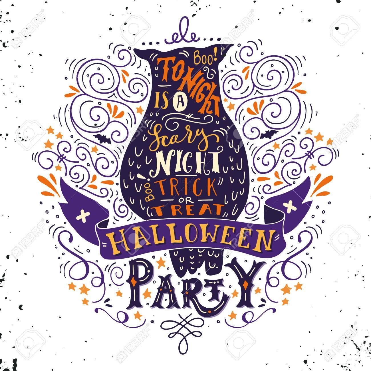 Cartel Del Partido De Halloween Con Un Viejo Búho Letras De La Mano Banner Y Adornos Esta Noche Es Una Fiesta Muy Asustadizo Truco O Trato Esta Ilustración Se Puede Utilizar Como