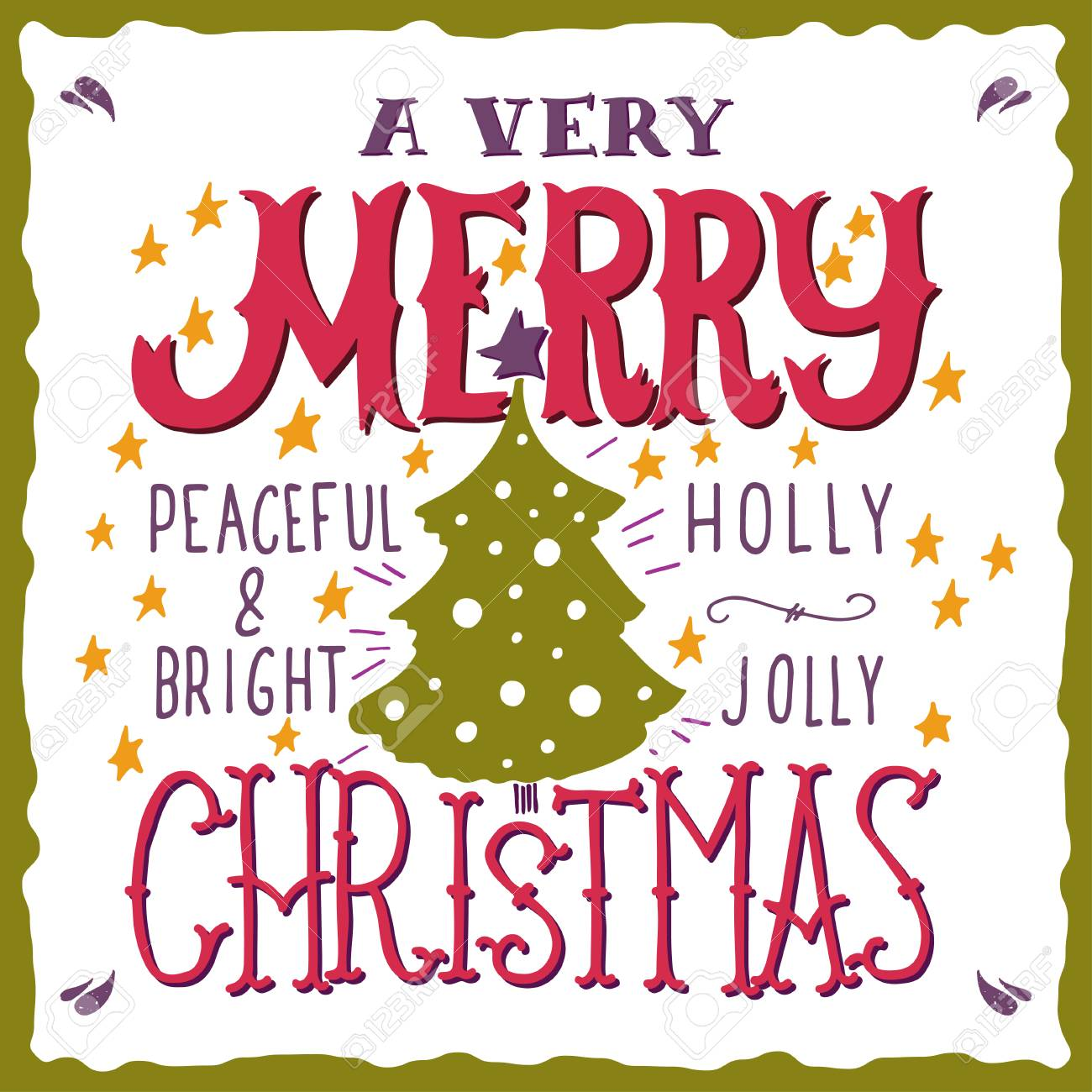 a very merry christmas peaceful and bright holly jolly quotes illustration with