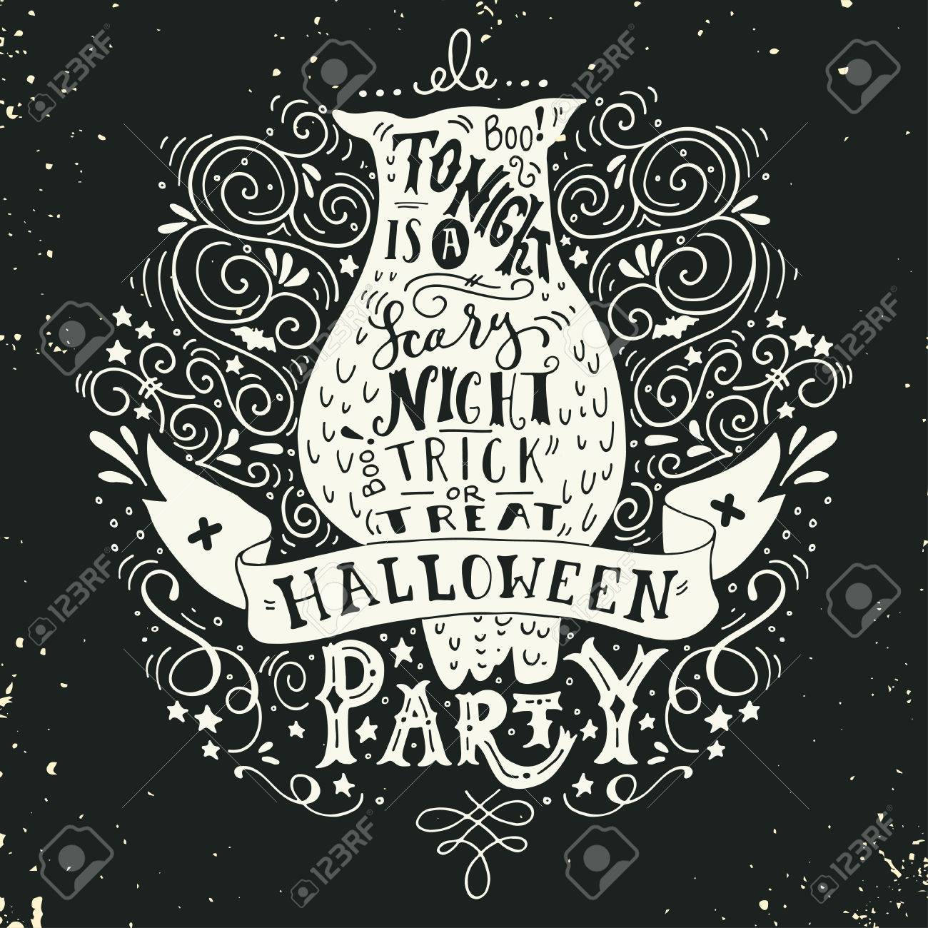 halloween party poster with an old owl, hand lettering, banner