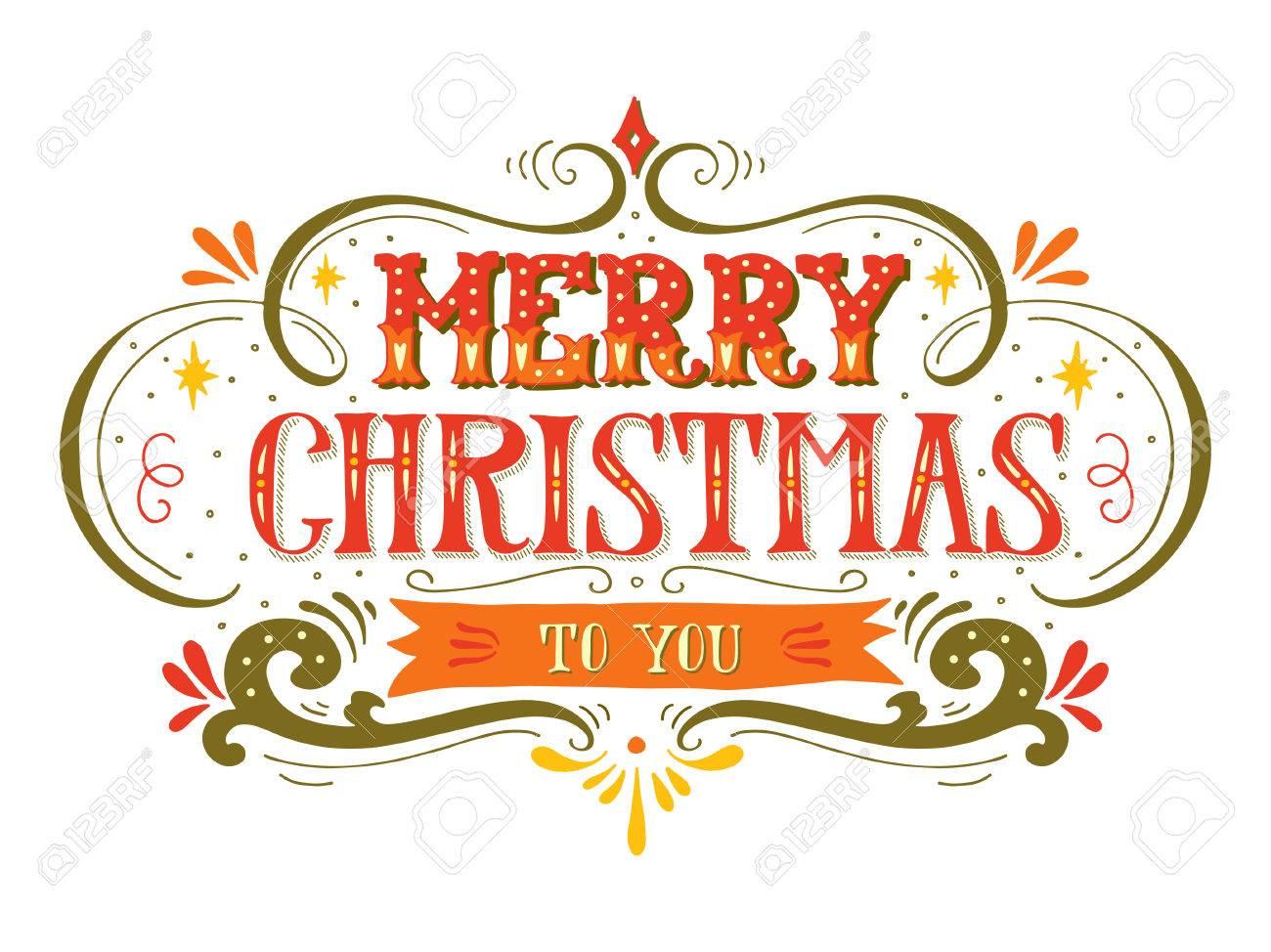 Immagini Natalizie Con Scritte.Buon Natale Poster Retro Con Scritte A Mano E Decorazione Elementi Questa Illustrazione Puo Essere Utilizzato Come Biglietto Di Auguri Poster O La