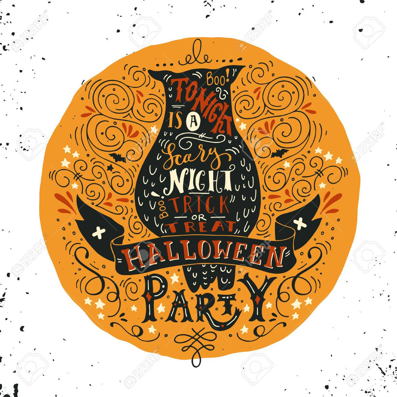 Halloween Party Poster With An Old Owl, Full Moon, Hand Lettering ...