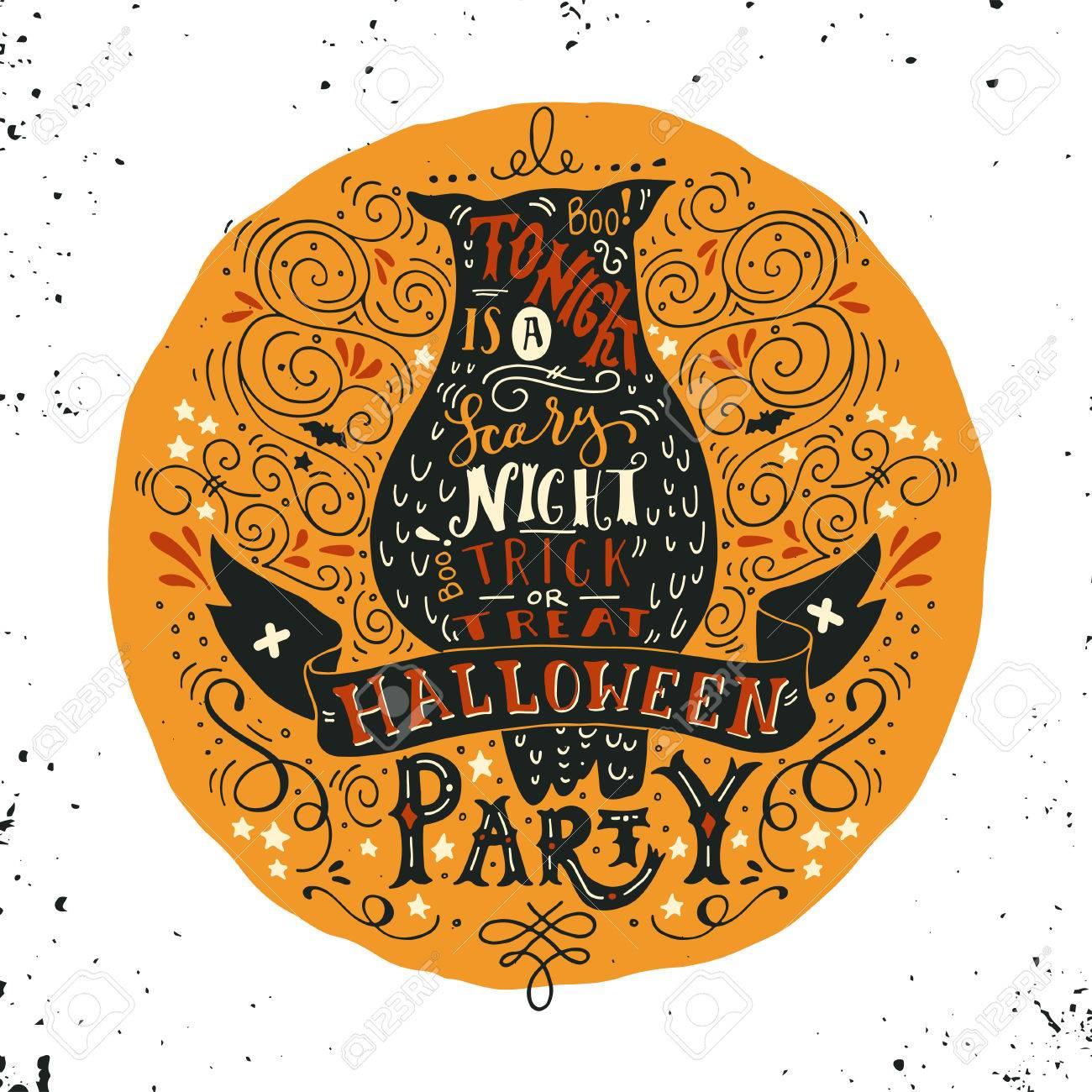 Cartel Del Partido De Halloween Con Un Búho Viejo Luna Llena Letras De La Mano En El Banner Y Adornos Esta Noche Es Una Fiesta Muy Asustadizo Truco O Trato Esta Ilustración