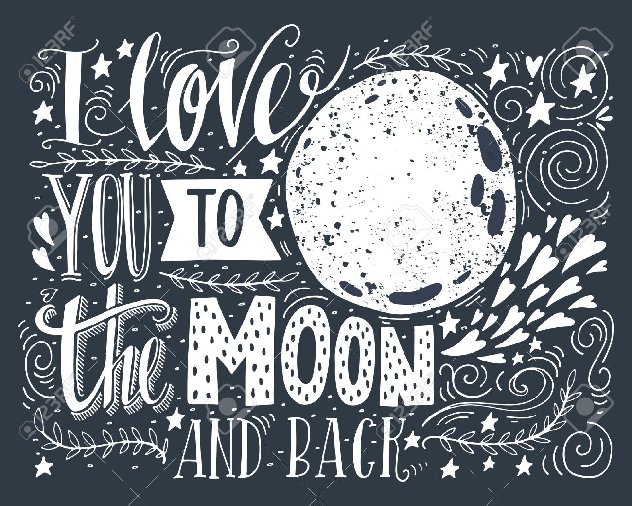 Quote I Love You To The Moon And Back I Love You To The Moon And Backhand Drawn Poster With A Romantic