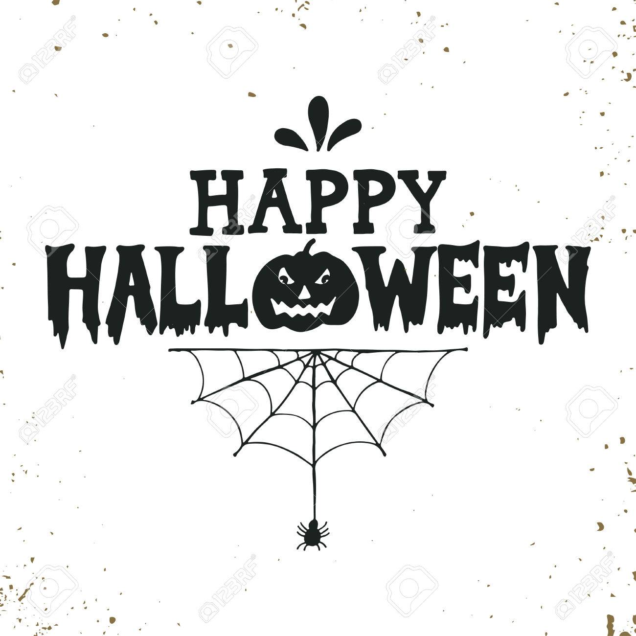 Hand Drawn Happy Halloween Lettering With A Pumpkin And Spider Royalty Free Cliparts Vectors And Stock Illustration Image 45687159