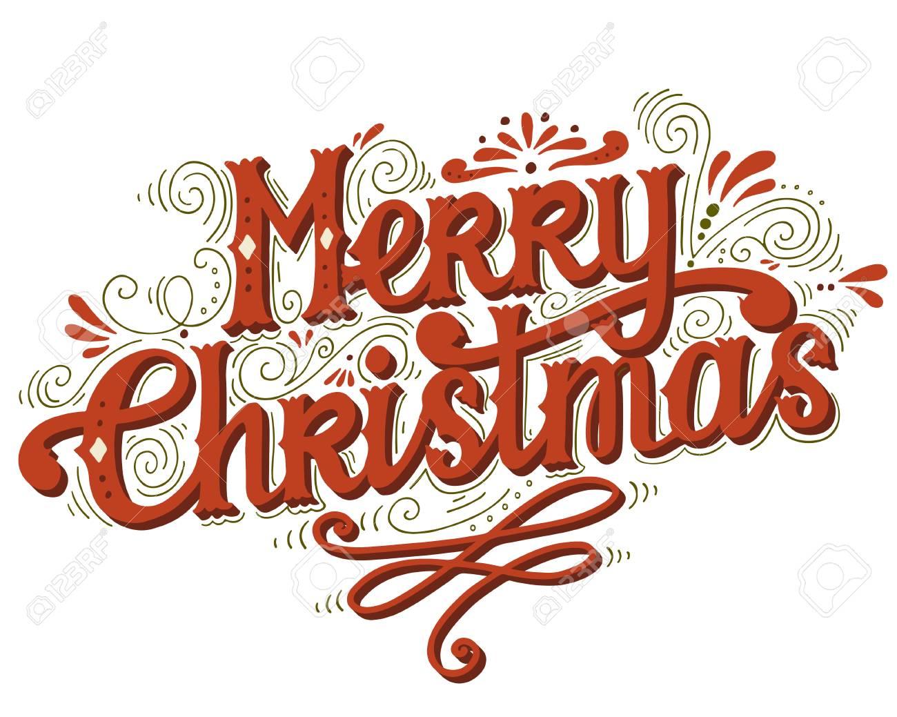 Immagini Con Scritte Di Buon Natale.Buon Natale Poster Retro Con Scritte A Mano E Decorazione Elementi Questa Illustrazione Puo Essere Utilizzato Come Biglietto Di Auguri Poster O La