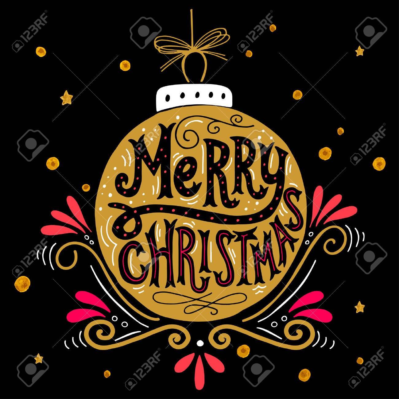 Immagini Natalizie Con Scritte.Buon Natale Poster Retro Con Scritte A Mano Palla Di Natale E Elementi Di Decorazione Questa Illustrazione Puo Essere Utilizzato Come Biglietto Di