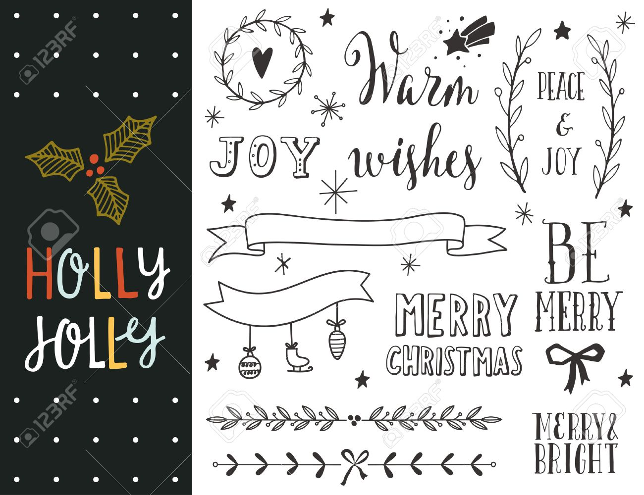 Holly Jolly. Hand drawn Christmas holiday collection with lettering and decoration elements for greeting cards, stationary, gift tags, scrapbooking, invitations. - 47392722
