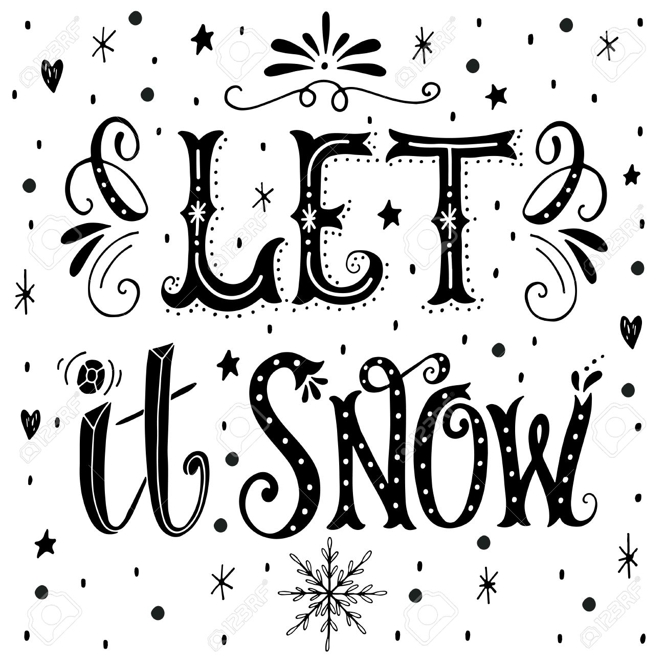 Wonderful Let It Snow. Christmas Retro Poster With Hand Lettering And Winter  OL66