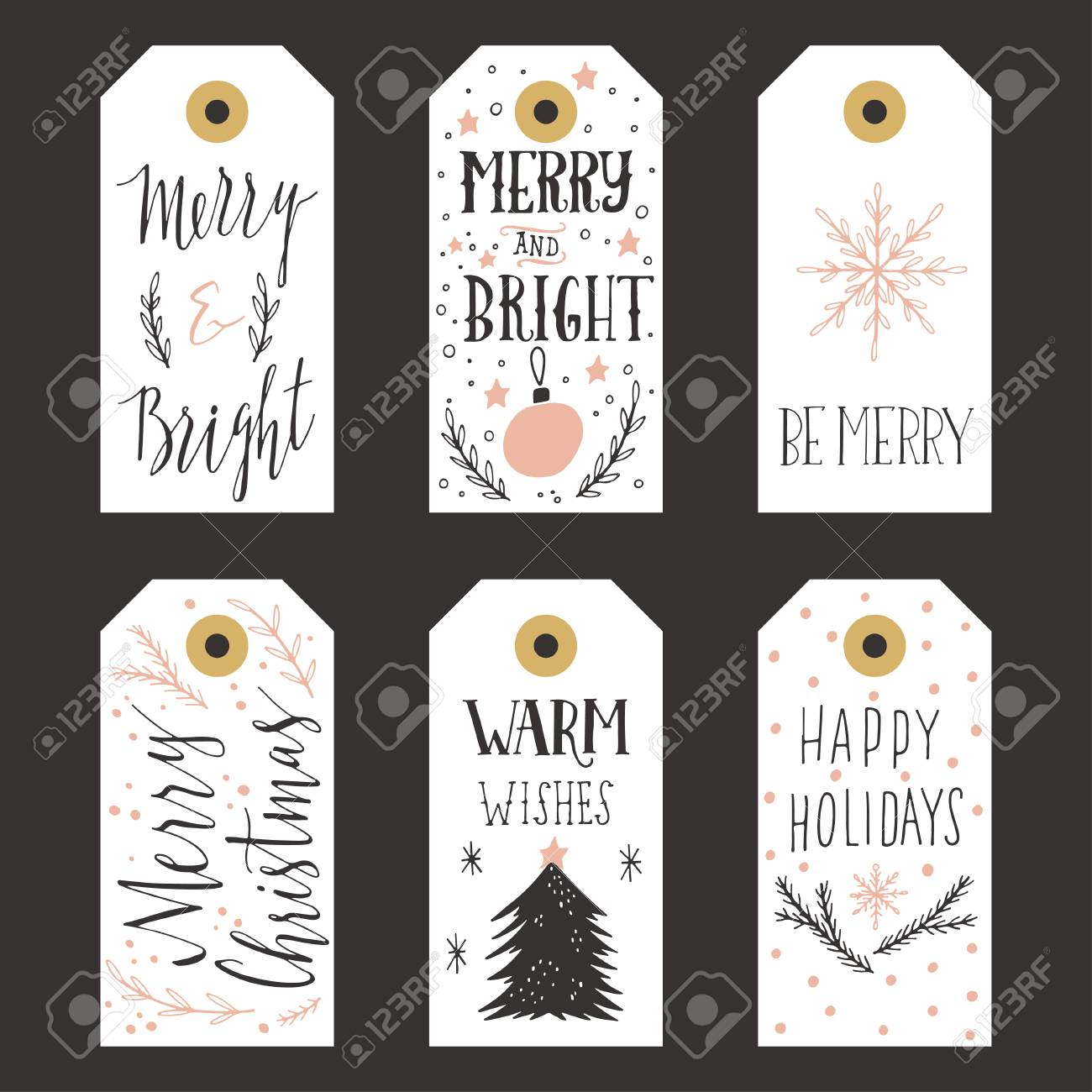 Vintage Christmas Gift Tags Royalty Free Cliparts, Vectors, And ...