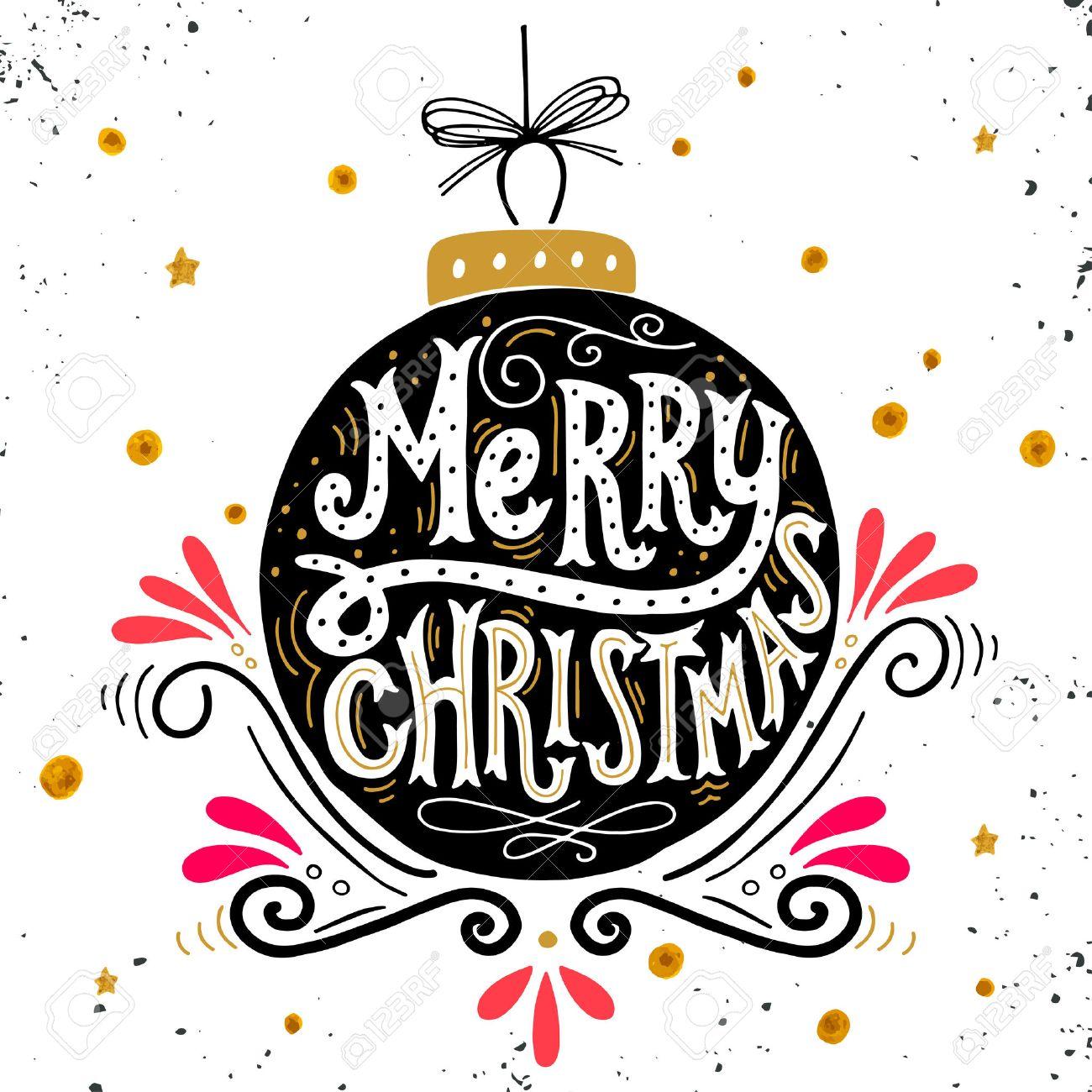 Immagini Con Scritte Di Buon Natale.Buon Natale Poster Retro Con Scritte A Mano Palla Di Natale E Elementi Di Decorazione Questa Illustrazione Puo Essere Utilizzato Come Biglietto Di