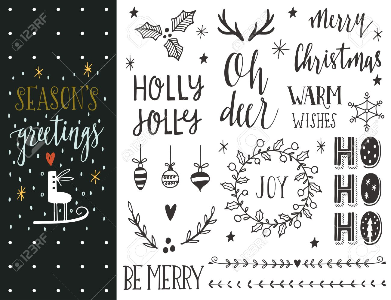 Seasons greetings hand drawn christmas holiday collection with seasons greetings hand drawn christmas holiday collection with lettering and decoration elements for greeting cards kristyandbryce Gallery