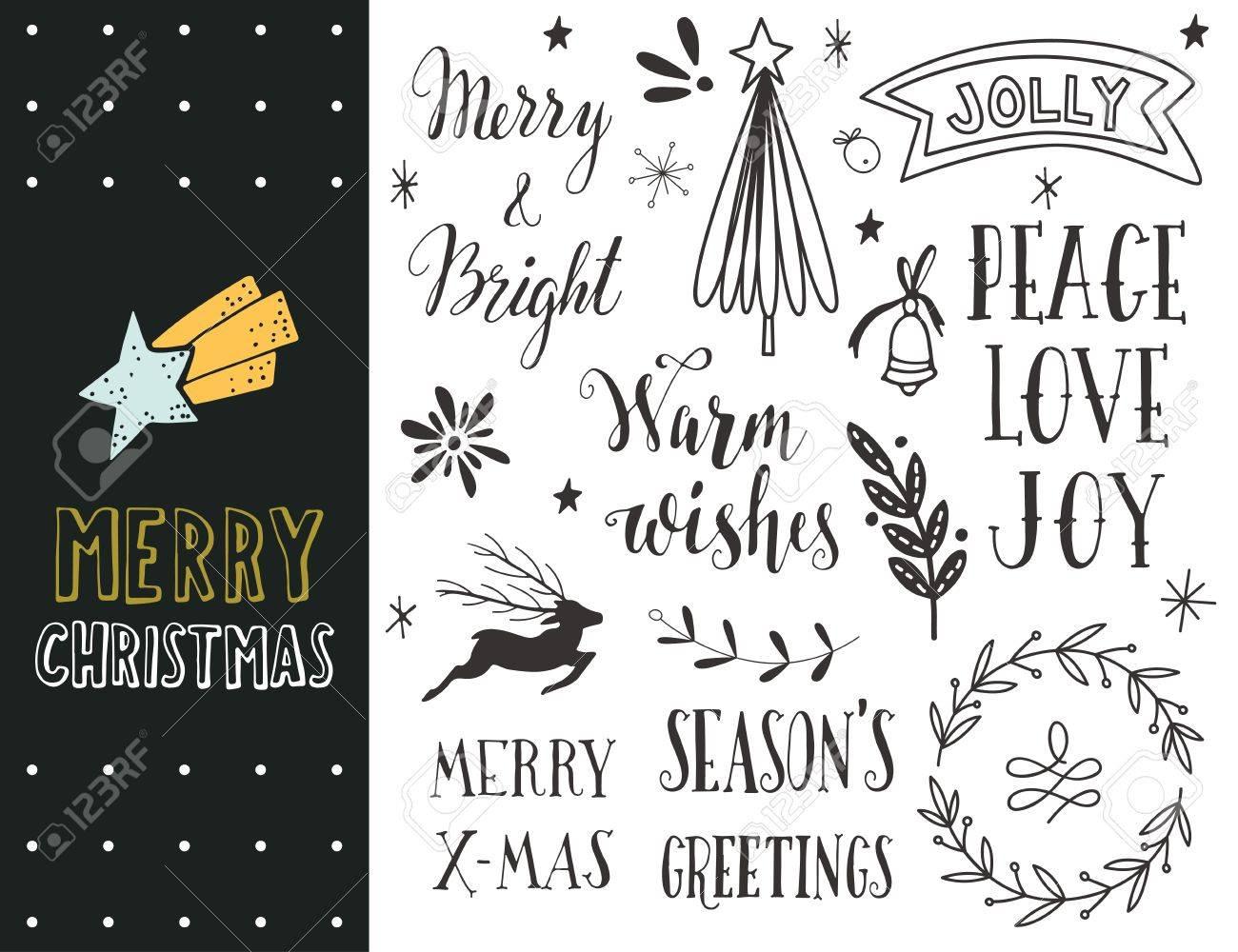 Hand Gezeichnet Frohe Weihnachten Feiertagssammlung Mit Schriftzug ...