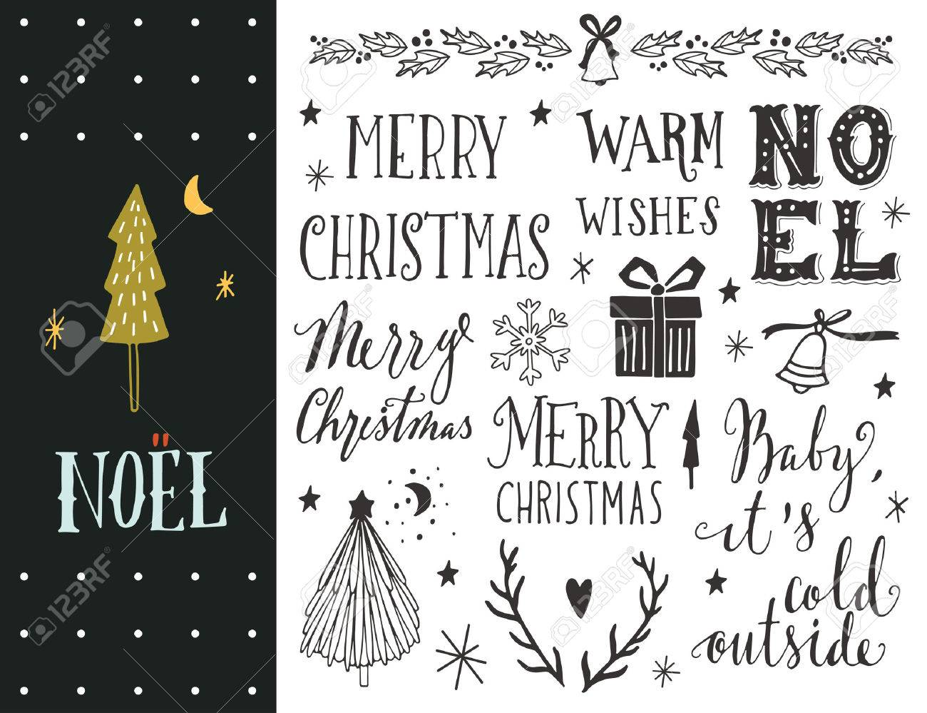 Noel hand drawn christmas holiday collection with lettering noel hand drawn christmas holiday collection with lettering and decoration elements for greeting cards stopboris Gallery