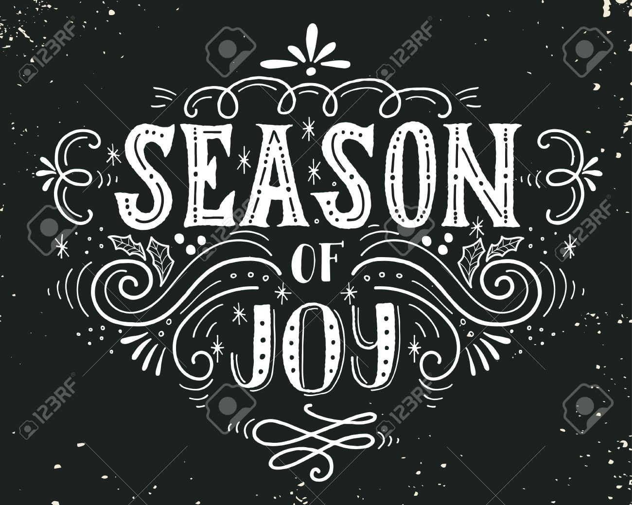 Season of joy christmas retro poster with hand lettering and season of joy christmas retro poster with hand lettering and decoration elements this illustration kristyandbryce Image collections