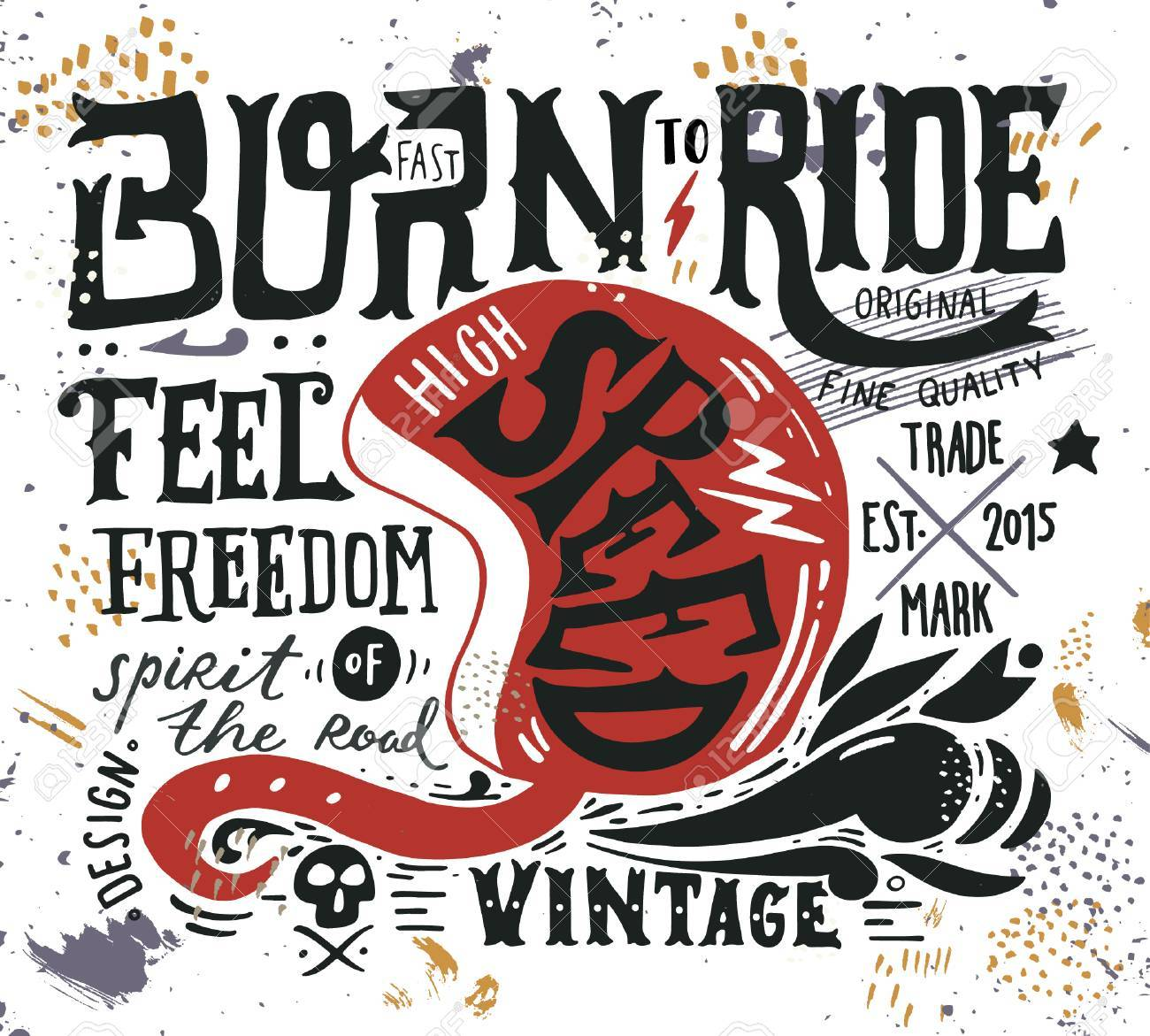 Hand drawn grunge vintage illustration with hand lettering and a retro helmet, skull and decoration elements. This illustration can be used as a print on t-shirts and bags, stationary or as a poster. - 54667539