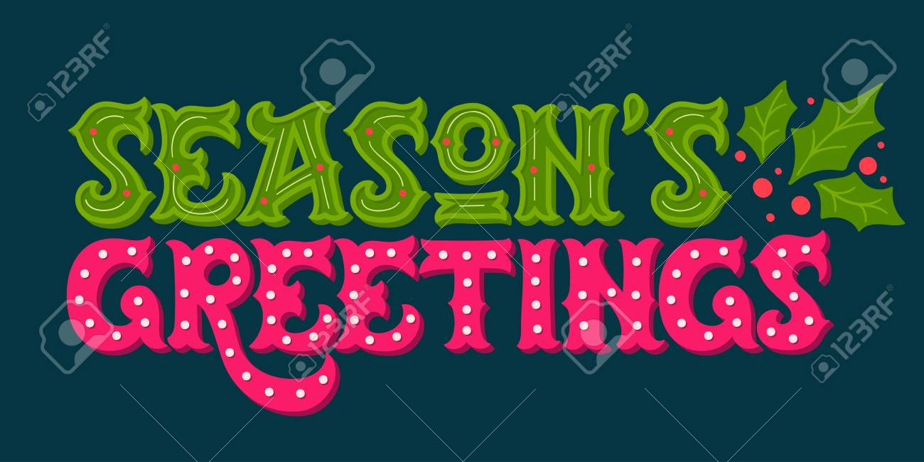 Seasons Greetings Hand Drawn Winter Holiday Image Ornate Christmas