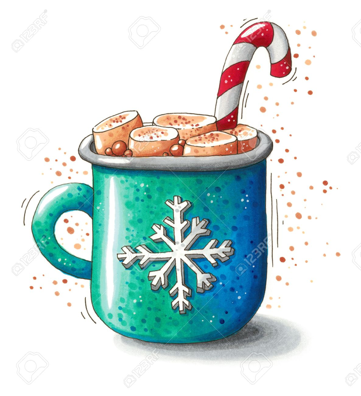 Cute hand drawn Christmas illustration of a mug with hot chocolate, melted marshmallows and a candy cane isolated on white background. This image can be used as a Christmas greeting card, poster or print. - 65523155