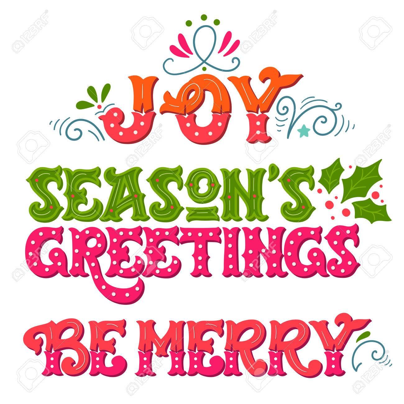 Freude Die Grüße Der Jahreszeit Sei Fröhlich Sammlung Von Hand Gezeichnet Winterferien Sprüche Weihnachten Schriftzug Mit Dekorativen