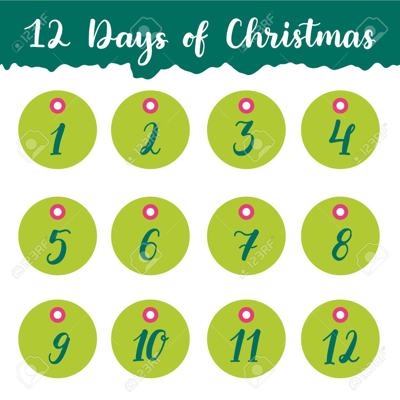 graphic regarding 12 Days of Christmas Printable identify Hand drawn 12 times of Xmas trip present tags choice..