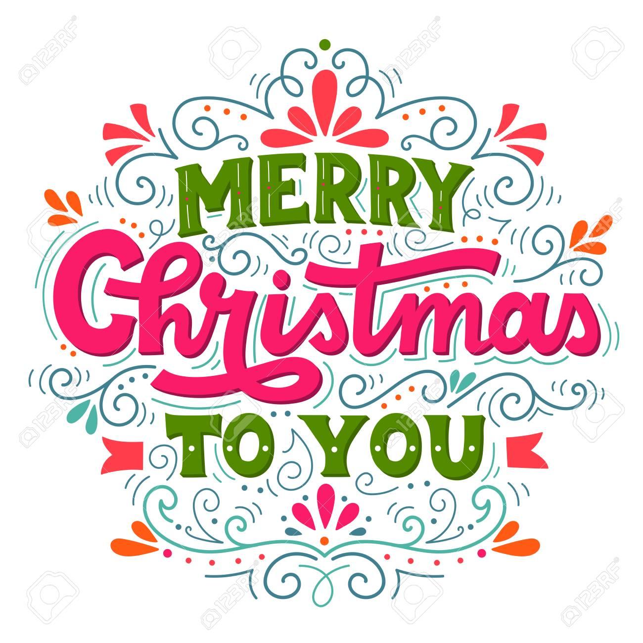 Merry Christmas To You.Merry Christmas To You Hand Drawn Winter Holiday Image Christmas