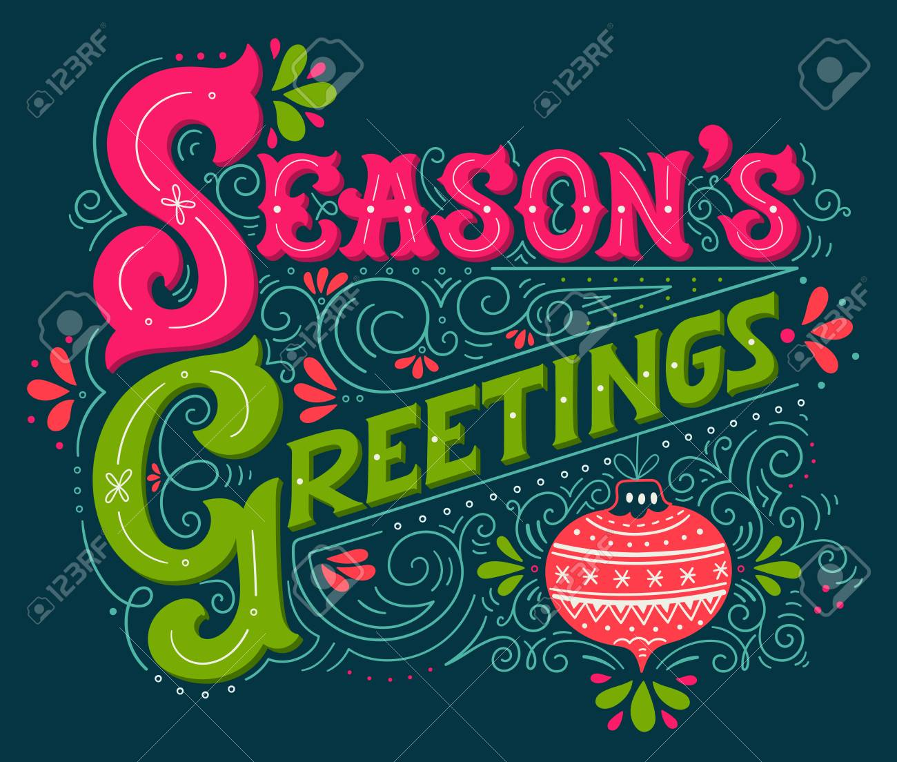 Seasons greetings hand drawn winter holiday illustration seasons greetings hand drawn winter holiday illustration lettering with a christmas ball and decorative kristyandbryce Image collections