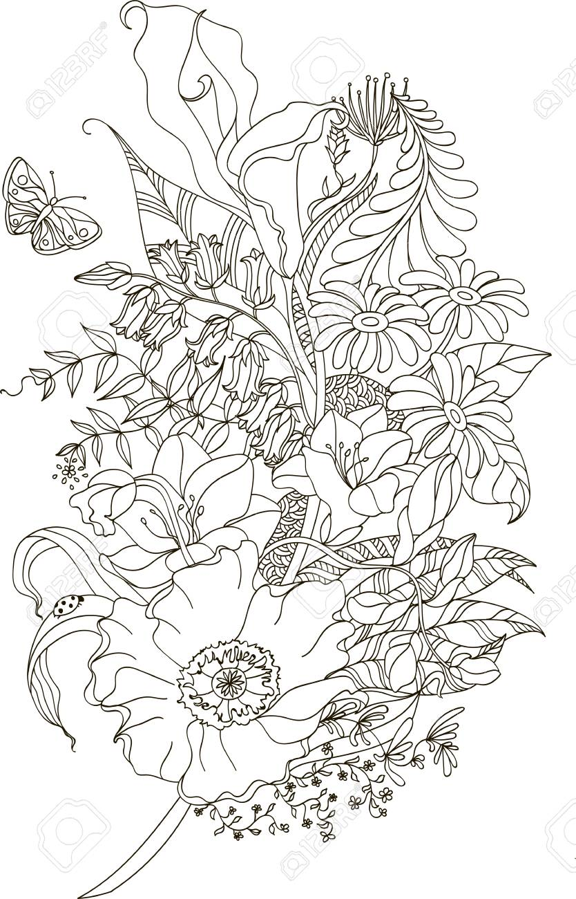 Abstract Flower With Zentangle Style For Coloring Book Tattoo
