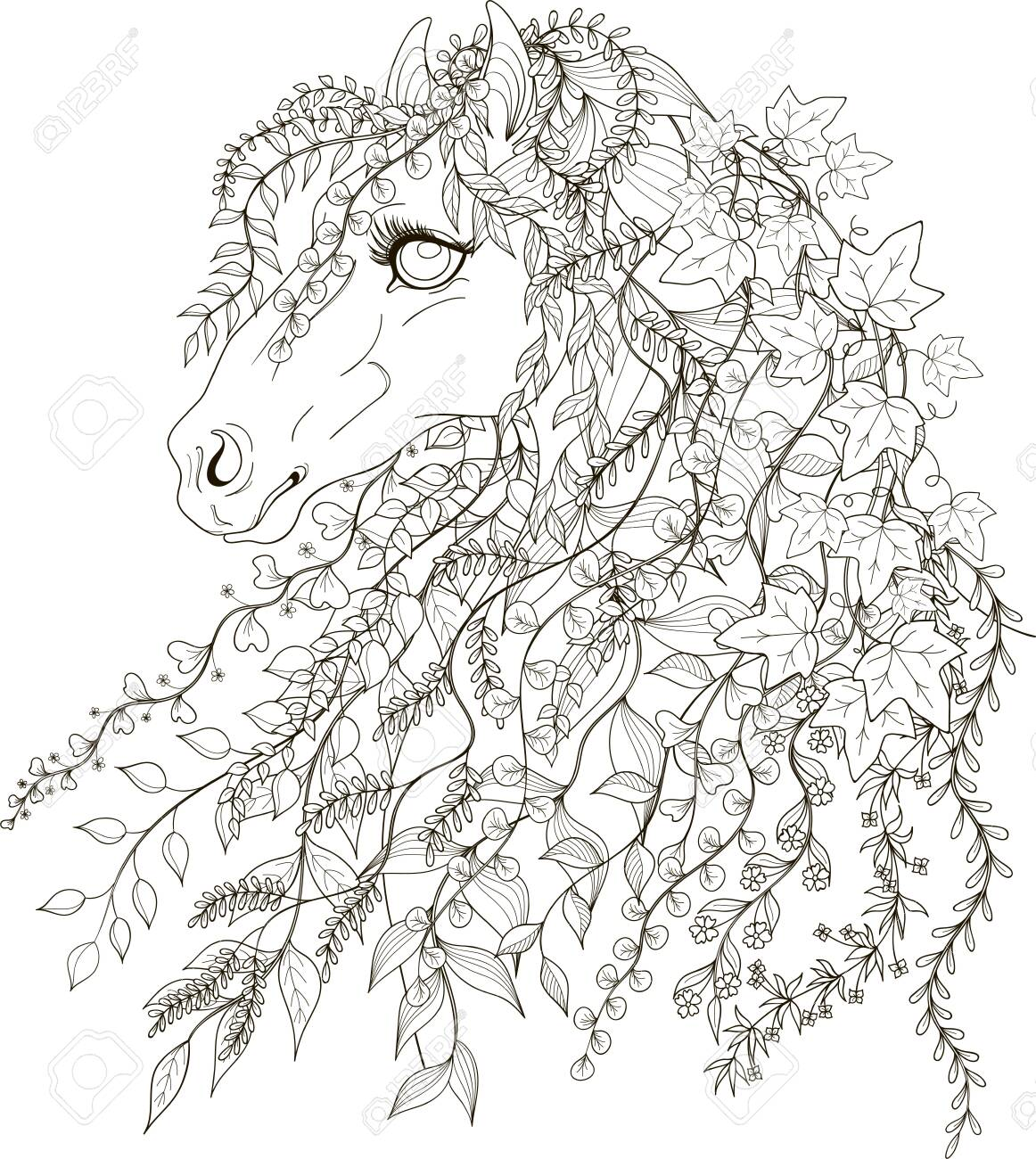 Spring Horse In Style For Adult Coloring Pages Stylized Illustration