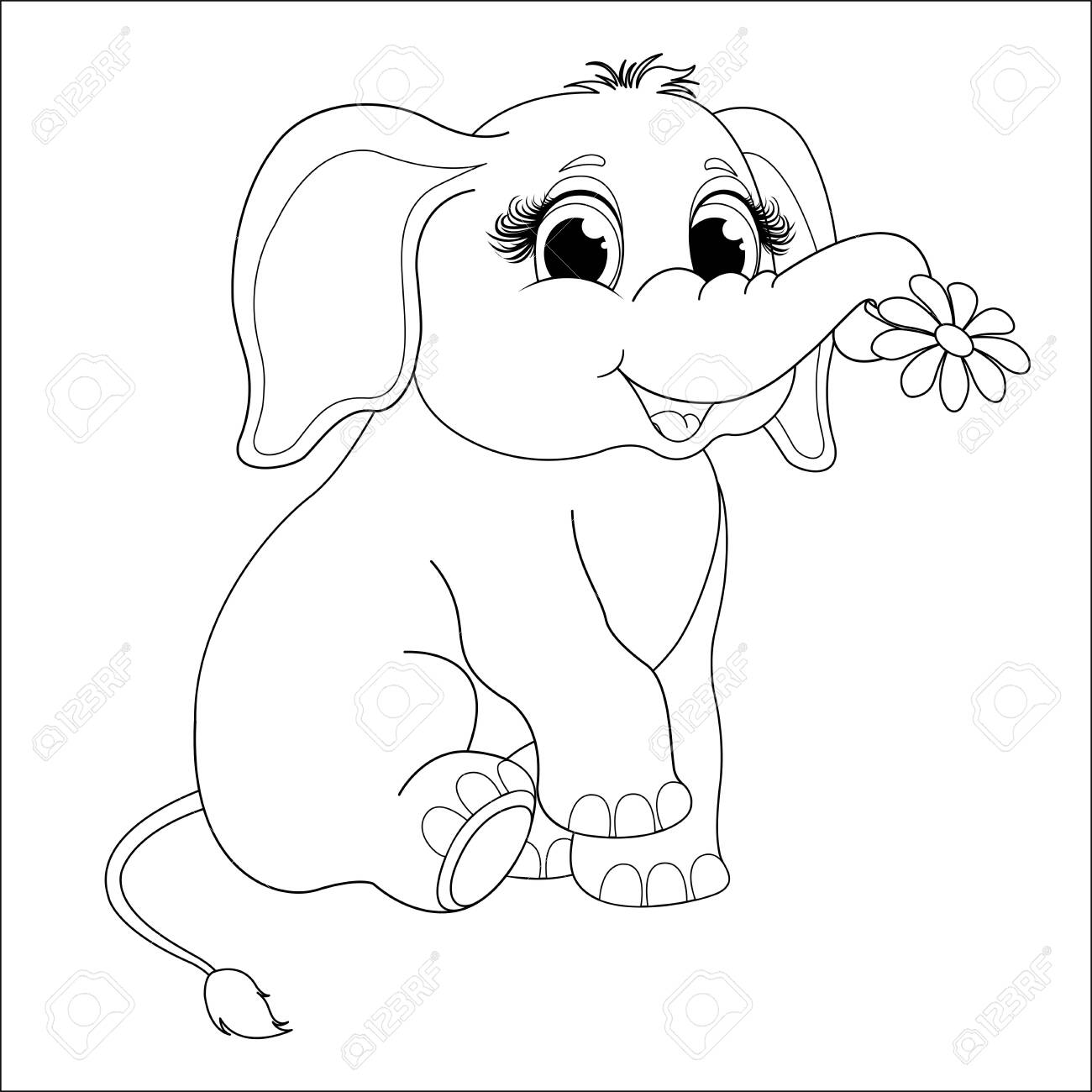 Cute Baby Elephant coloring page | Free Printable Coloring Pages | 1300x1300