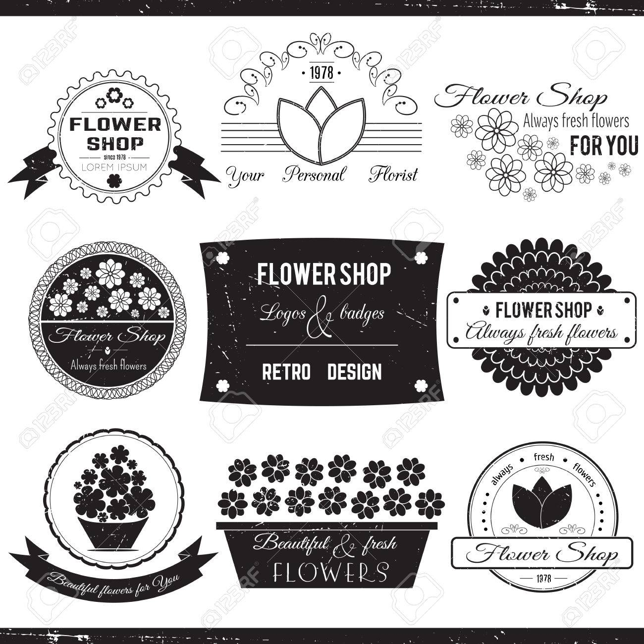 Set Of Flower Symbols Badges Icons And Signs Vector Floral