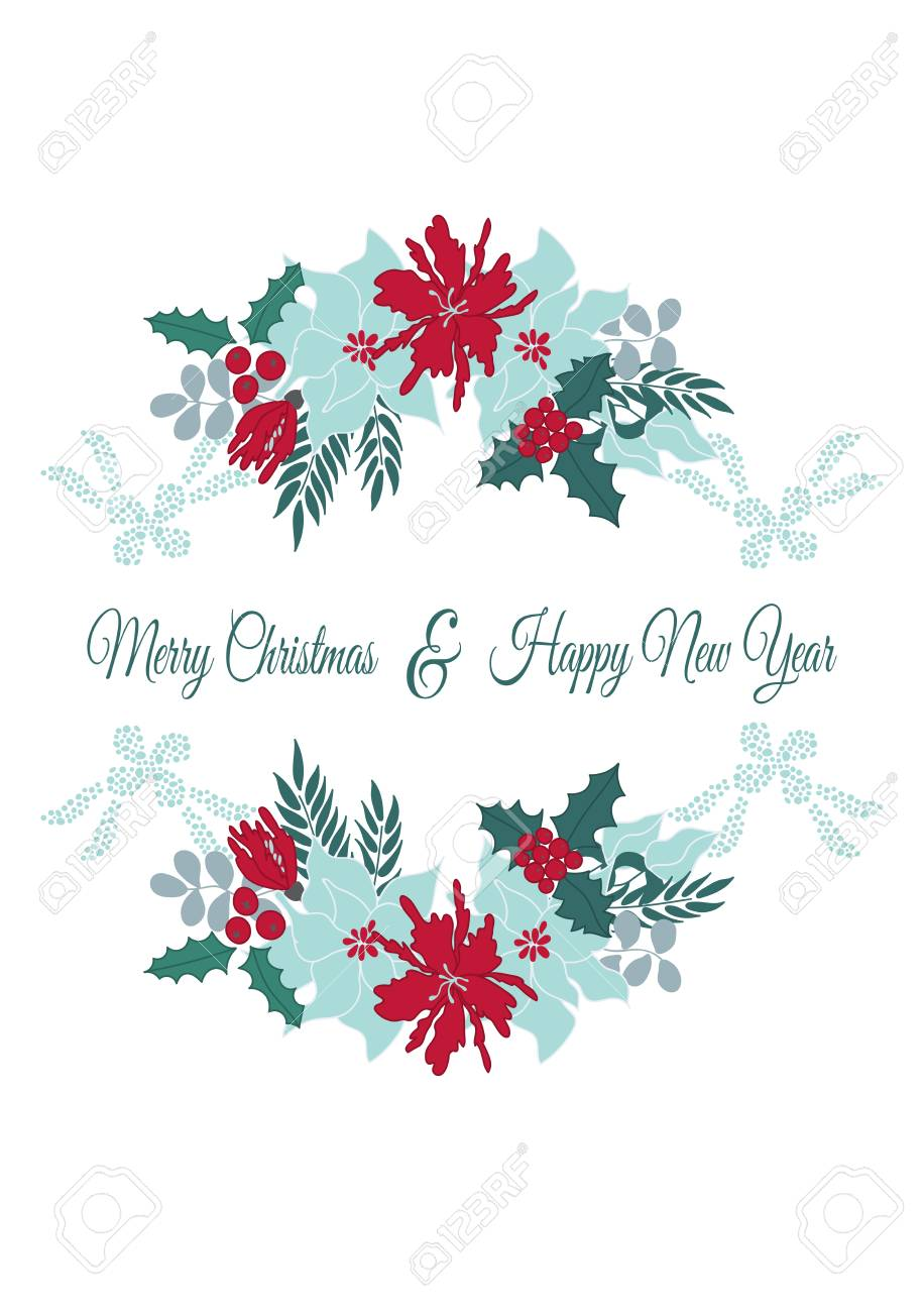Christmas Card Printing.Vector Christmas Card Template With Winter Flowers Leaves And