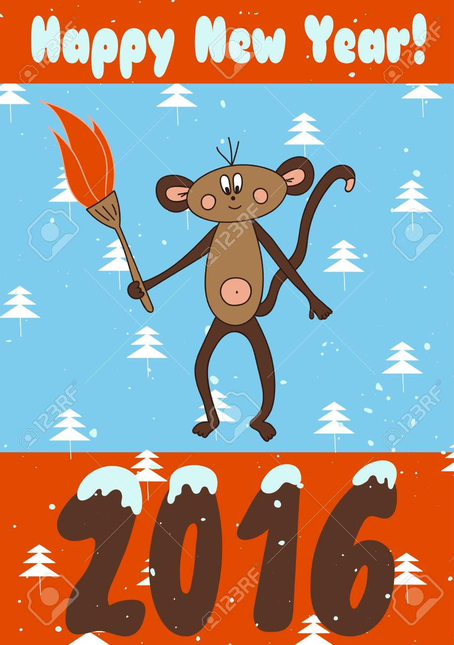 Winter holiday card template with monkey a symbol of chinese vector winter holiday card template with monkey a symbol of chinese new year 2016 for greeting cards invitations calendars scrap booking new years m4hsunfo