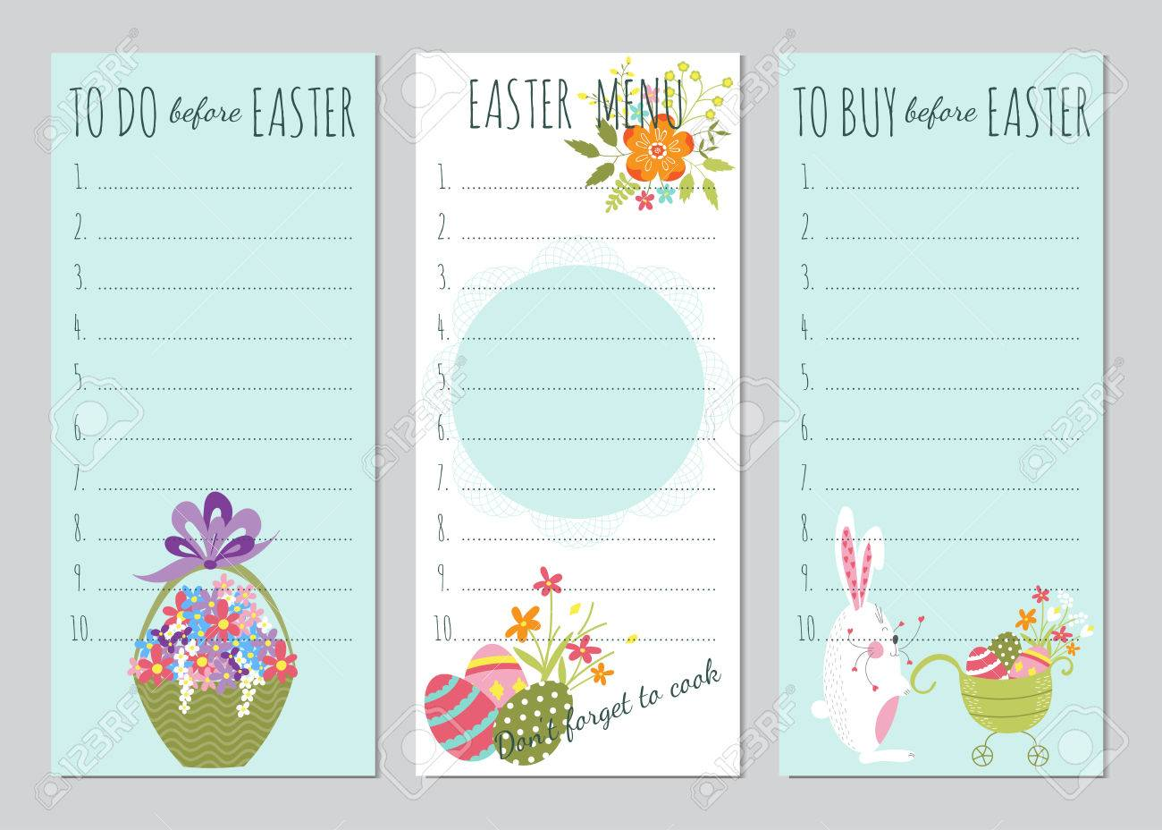 image regarding Easter Stationery Printable named Vector fastened of Easter in the direction of do lists with humorous bunnies and bouquets