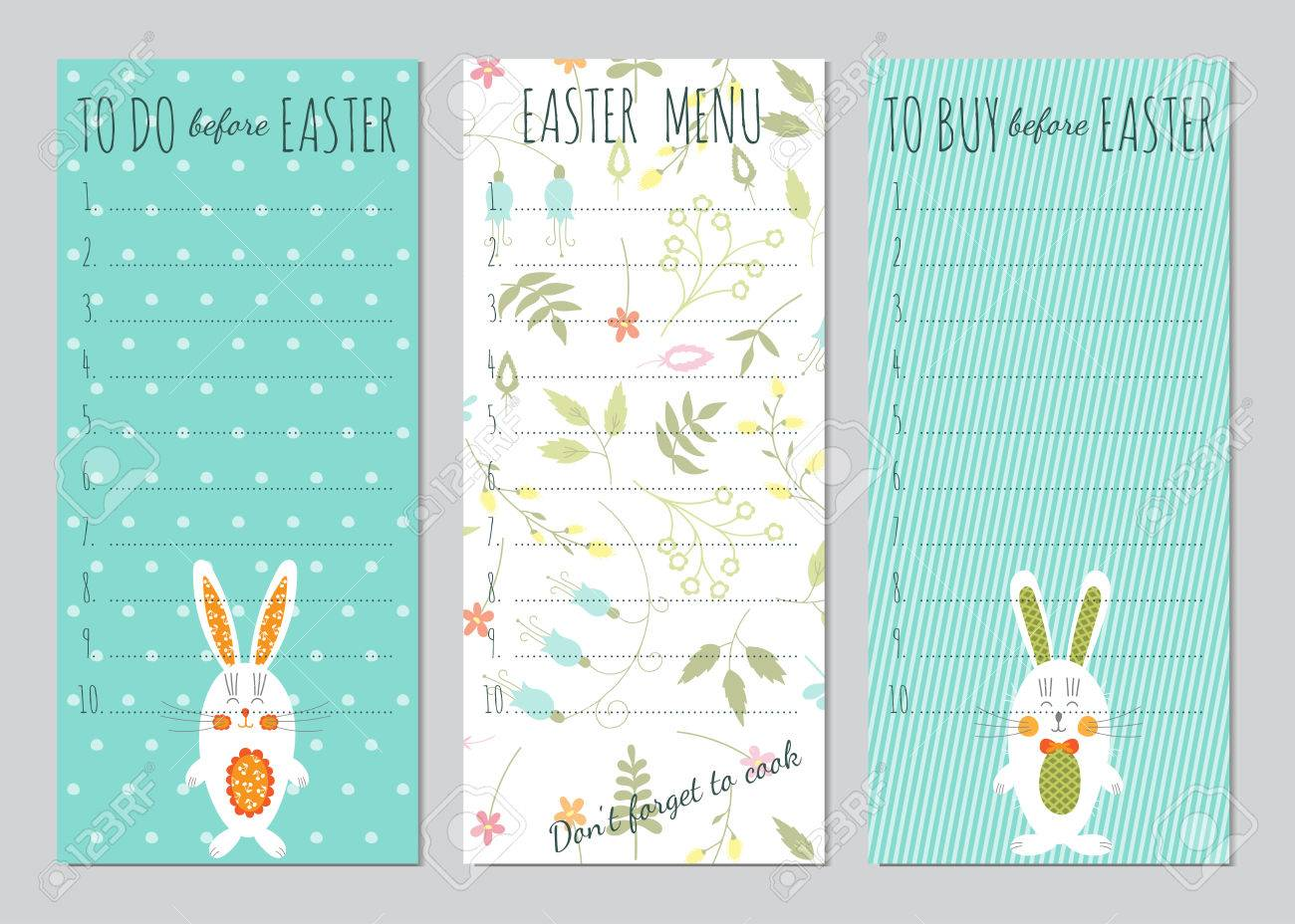 picture about Easter Stationery Printable titled Vector established of Easter toward do lists with amusing bunnies and bouquets