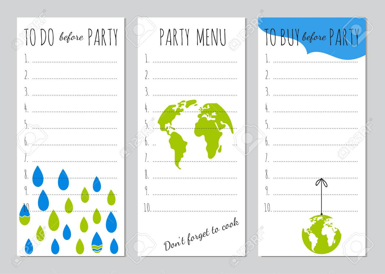 vector set of checklists for earth day party menu shopping